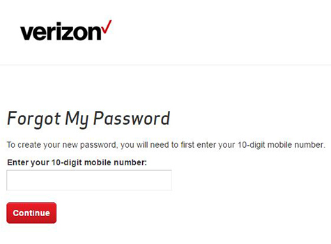 Verizon Forgot Password